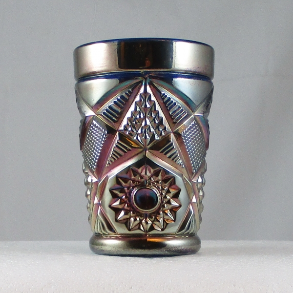 Antique South American Blue Omnibus Carnival Glass Tumbler
