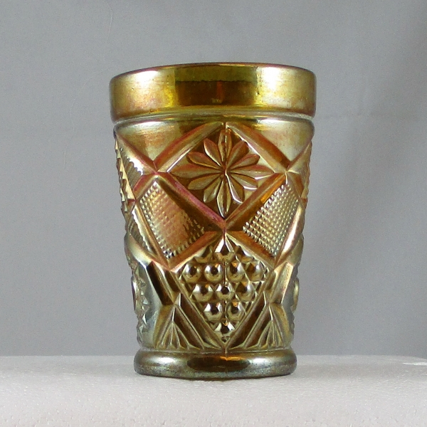 Antique South American Olive Green Omnibus Carnival Glass Tumbler