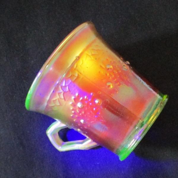 Antique Fenton Lime Green (Glows) Orange Tree Carnival Glass Mug