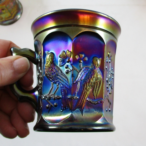 Antique Northwood Singing Birds Amethyst Carnival Glass Mug