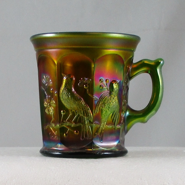 Antique Northwood Singing Birds Green Carnival Glass Mug