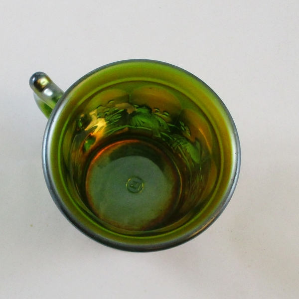 Antique Northwood Singing Birds Green Carnival Glass Mug