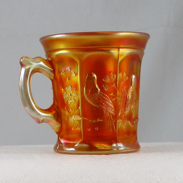 Antique Northwood Singing Birds Marigold Carnival Glass Mug