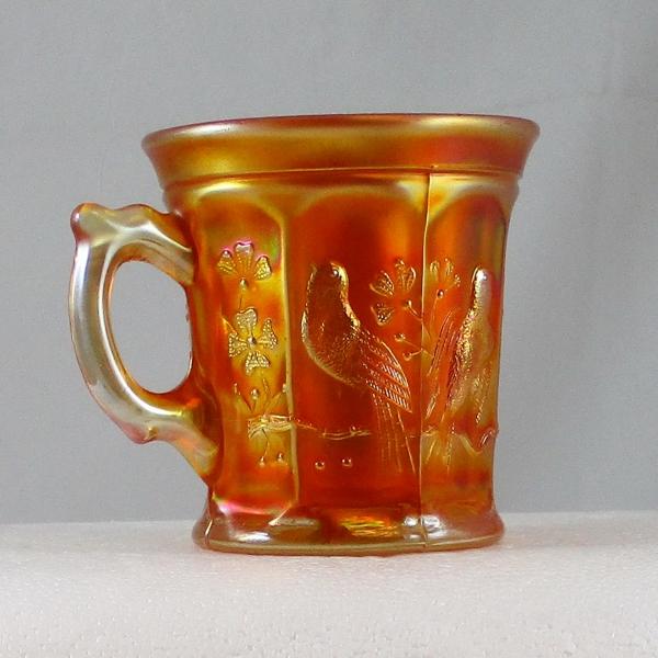Antique Northwood Singing Birds Marigold Carnival Glass Mug
