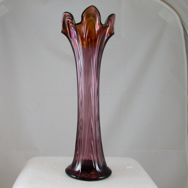 Antique Fenton Purple Boggy Bayou Carnival Glass Swung Vase