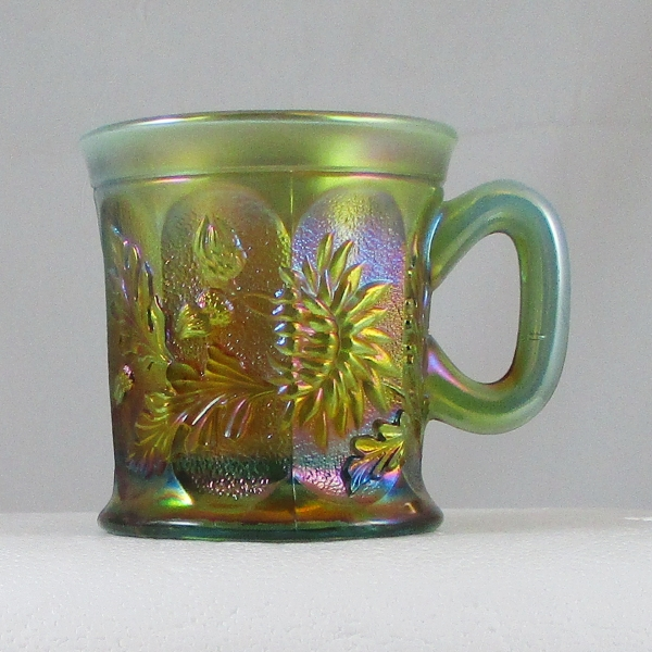 Antique Northwood Aqua Opal Dandelion Carnival Glass Mug