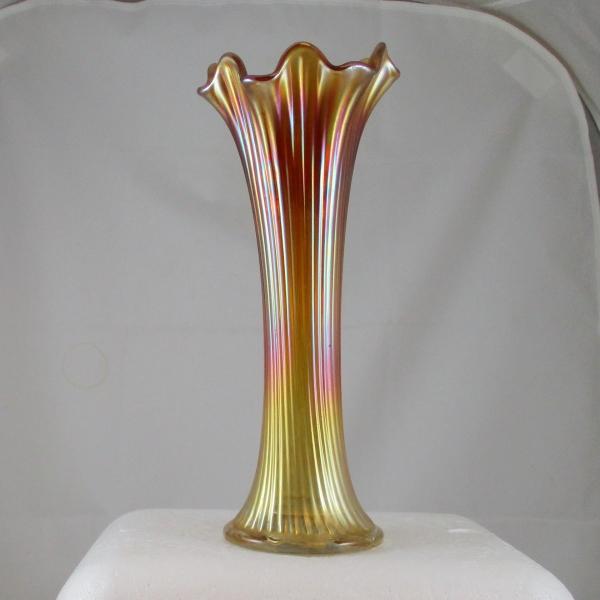 Antique Northwood Marigold Fine Rib Carnival Glass Swung Vase