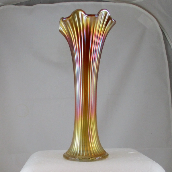 Antique Northwood Marigold Fine Rib Carnival Glass Swung Vase
