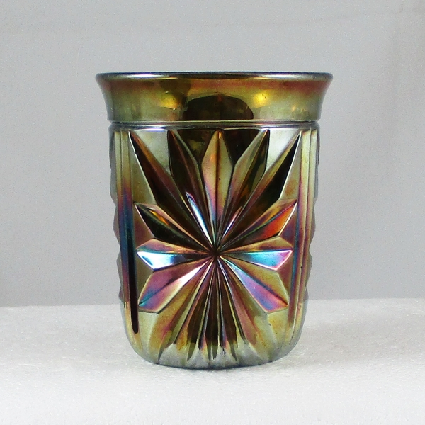 Antique Riihimaki Blue Flashing Star Carnival Glass Tumbler