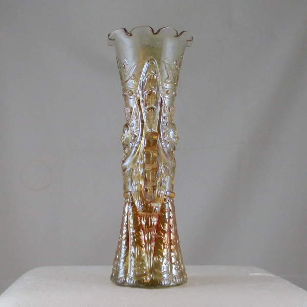 Antique Jain Marigold Goddess Carnival Glass Vase