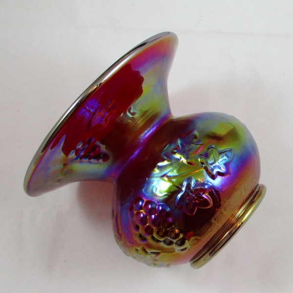Gibson Red Grape Carnival Glass Spittoon Vase