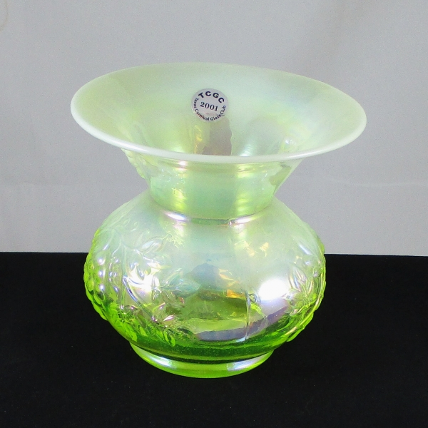 Gibson for TX CGC Vaseline Opal Grape Carnival Glass Spittoon Vase