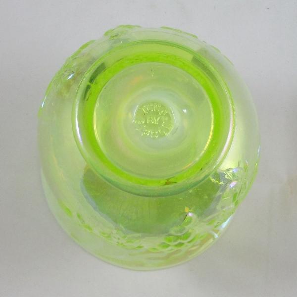 Gibson for TX CGC Vaseline Opal Grape Carnival Glass Spittoon Vase