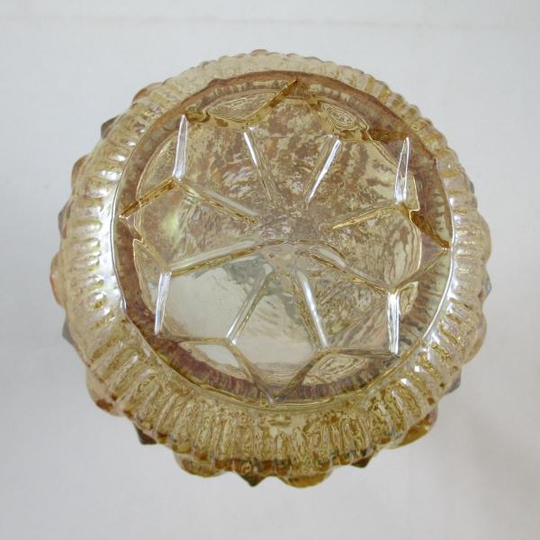 Antique Attributed to Jain Panaji Peacock Eye Marigold Carnival Glass Vase