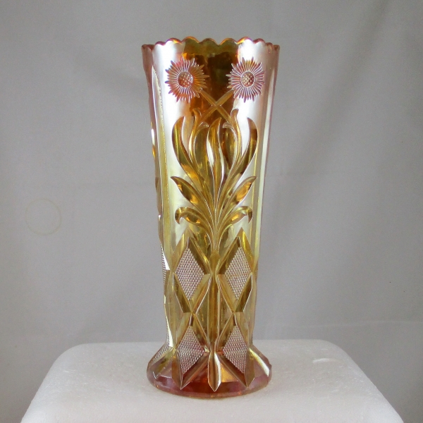 Antique Brockwitz Marigold Sunflower & Diamonds Carnival Glass Vase