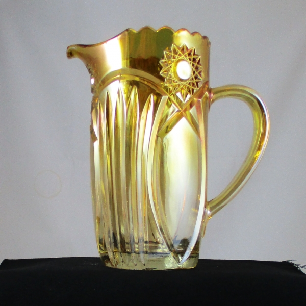 Antique Walther Marigold Hobstar & Shield Carnival Glass Water Pitcher