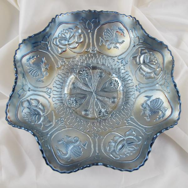 Antique Fenton Dragon & Lotus Blue Carnival Glass Bowl - Gunmetal