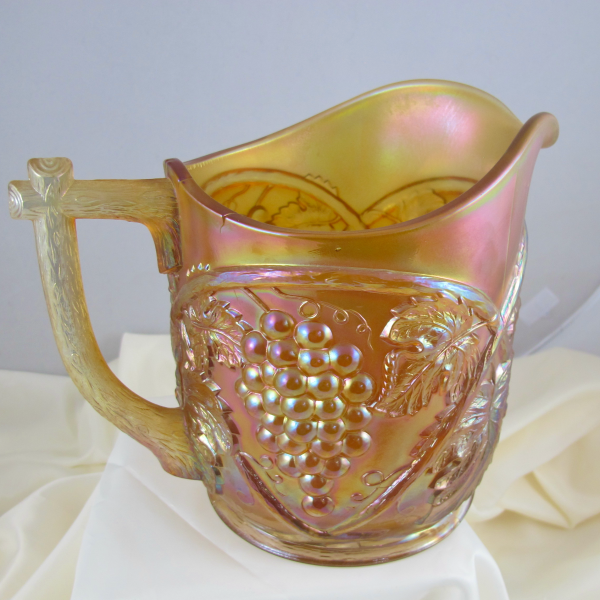 Antique US Glass Palm Beach Honey Amber Carnival Glass Water Pitcher (Cider)
