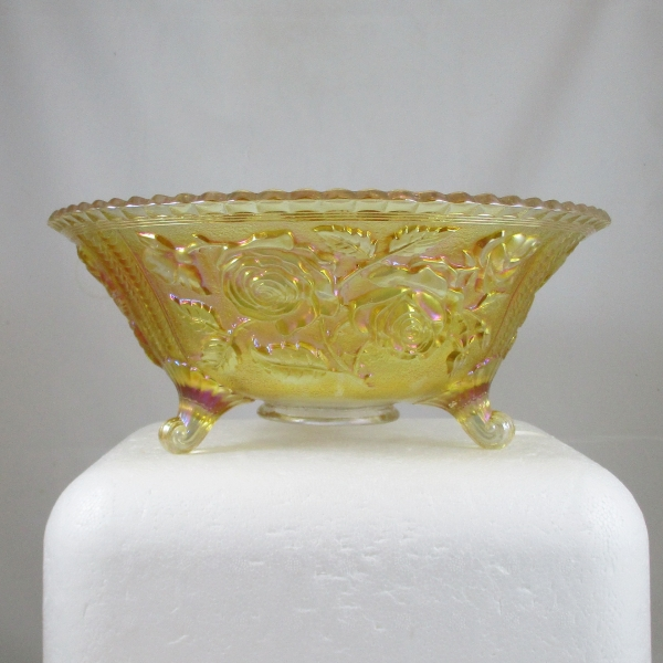 Antique Imperial Pastel Marigold Lustre Rose Carnival Glass Fruit Bowl