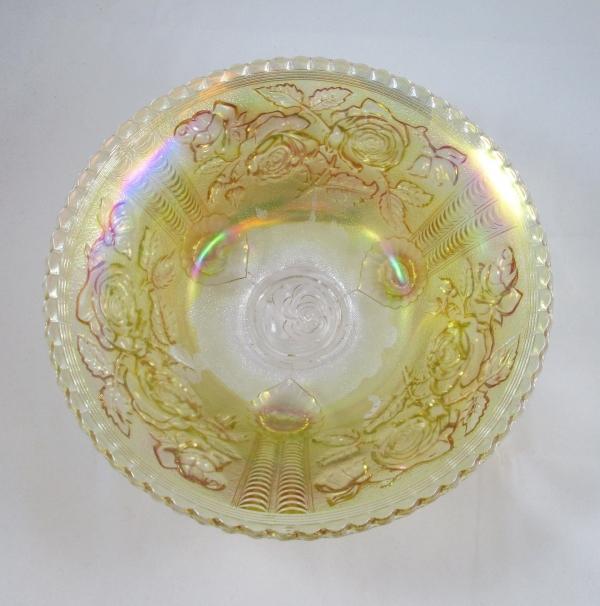 Antique Imperial Pastel Marigold Lustre Rose Carnival Glass Fruit Bowl