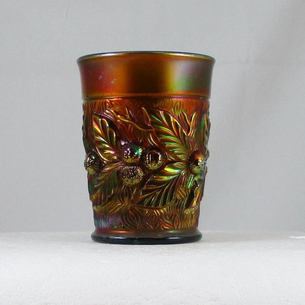 Antique Northwood Green Acorn Burrs Carnival Glass Tumbler