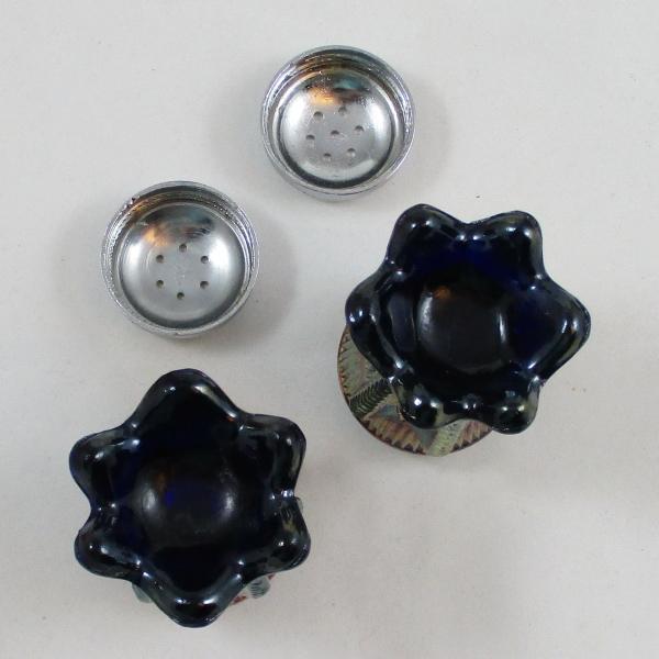 St Clair Cobalt Blue Cactus Carnival Glass Salt & Pepper Set