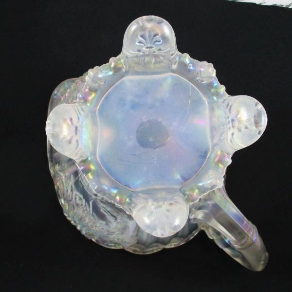 Antique Dugan Dahlia White Carnival Glass Water Pitcher