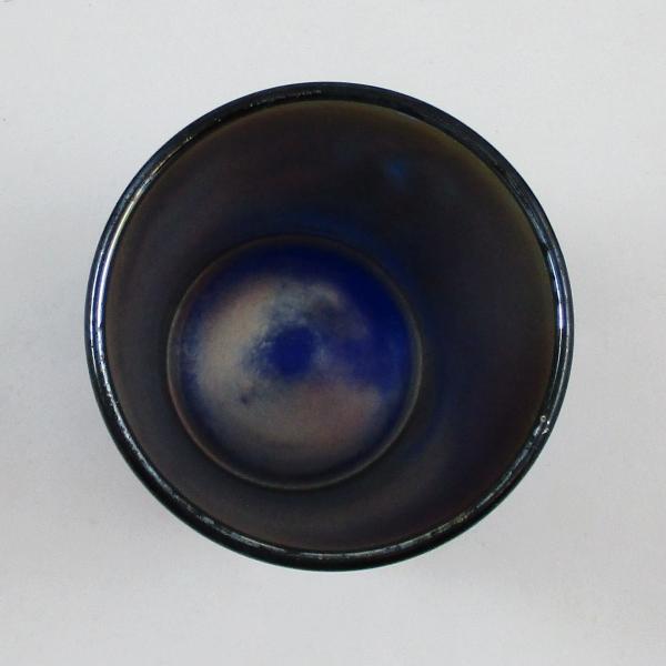 Antique Fenton Enameled Cherries Blank Blue Carnival Glass Tumbler