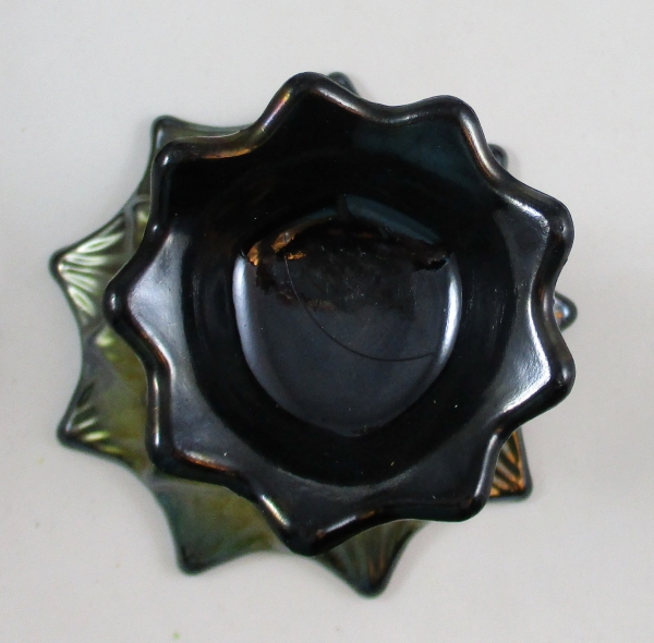Antique Dugan Lined Lattice Amethyst Carnival Glass Vase Purple