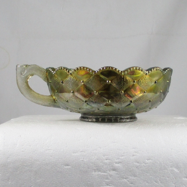 Imperial Smoke Pansy Carnival Glass Handled Nappy