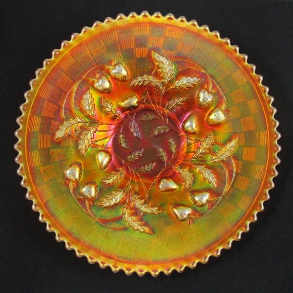 Antique Northwood Strawberry Dark Marigold Carnival Glass Plate
