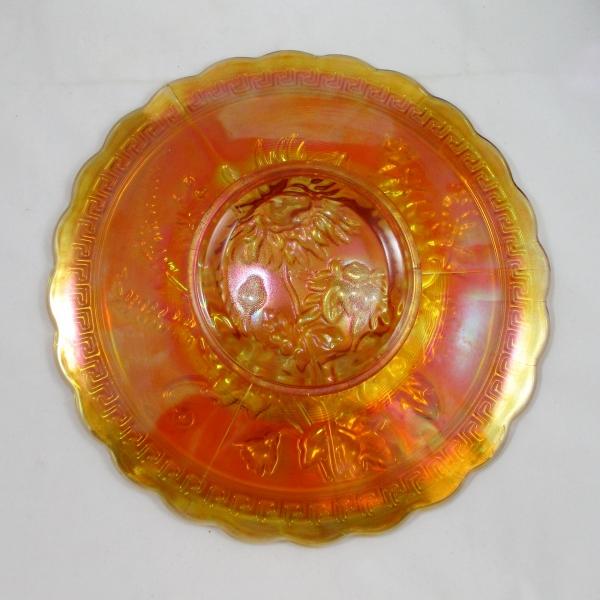 Imperial Marigold Chrysanthemum Carnival Glass Chop Plate