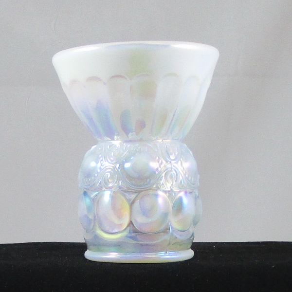 Mosser White Opal Eyewinker Carnival Glass Vase