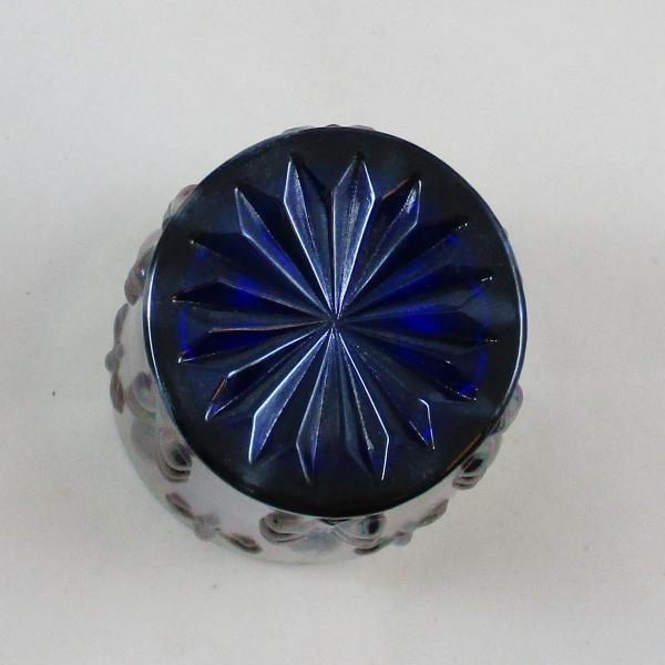 St. Clair Blue Fleur de Lis Carnival Glass Tumbler