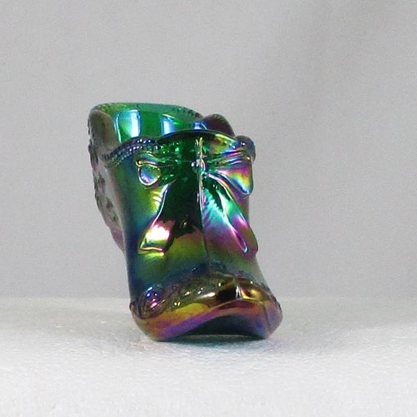 Mosser Green Bow Slipper Carnival Glass ICGA Shoe