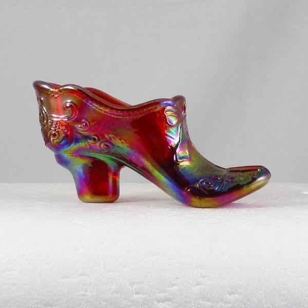 Mosser Red Bow Slipper Carnival Glass ICGA Shoe