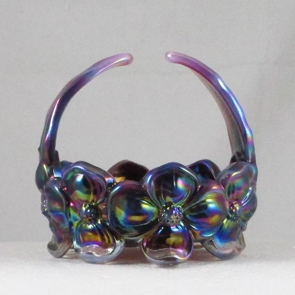 Fenton Plum Opal Dogwood Carnival Glass Handled Basket