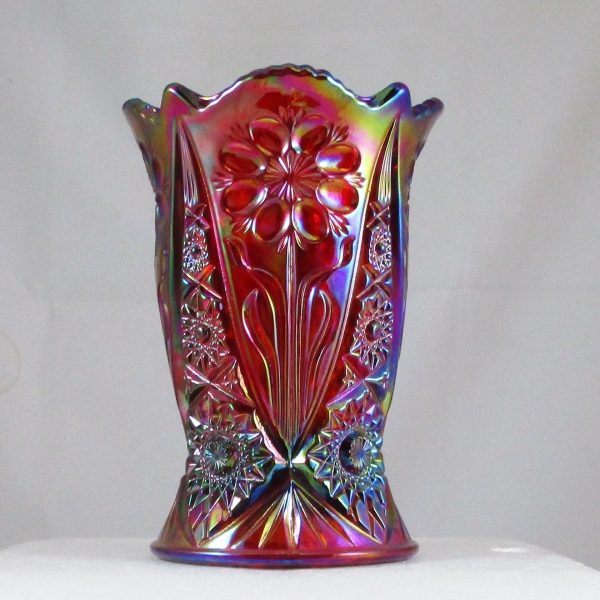Fenton Red Four Seventy Four #4257 RN Carnival Glass Vase
