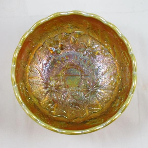 Mosser for Levay Aqua Opal Good Luck Carnival Glass Giant Rose Bowl