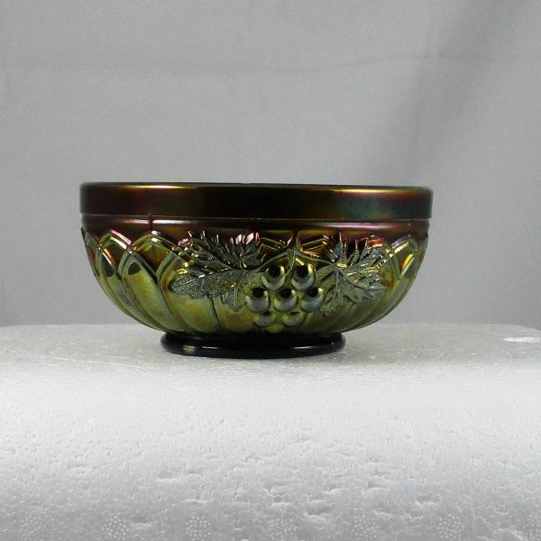 Antique Northwood Renninger Blue Grape & Gothic Arches Carnival Glass Sauce Bowl