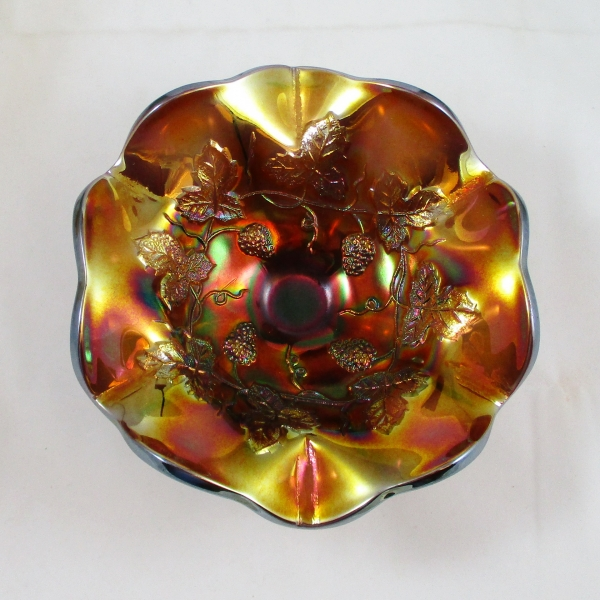 Antique Millersburg Strawberry Wreath Amethyst Carnival Glass Compote
