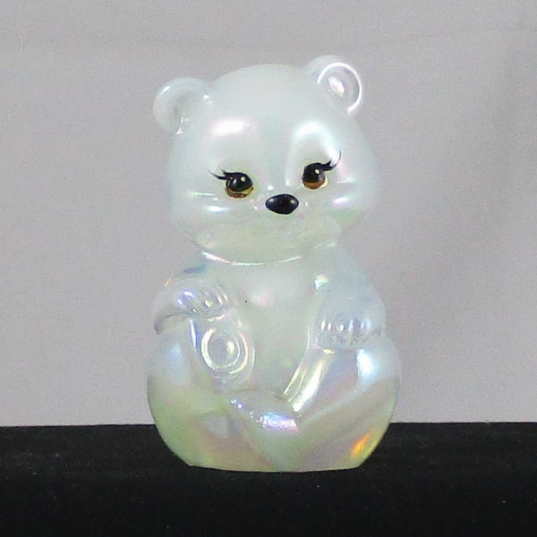 Fenton Pearl Opal Carnival Glass Hand Painted BEAR #5151 Figurine / Paperweight Animal