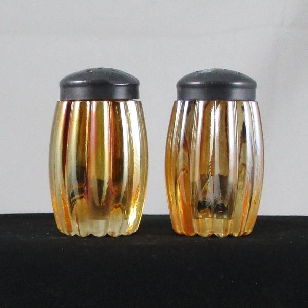 Unknown Maker Marigold Heavy Rib or Melon Rib Carnival Glass Salt & Pepper Set