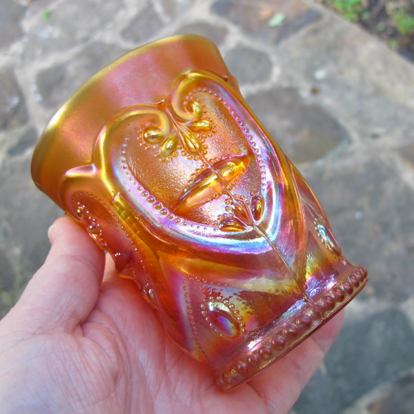 Antique Dugan Jeweled Heart Marigold Carnival Glass Tumbler