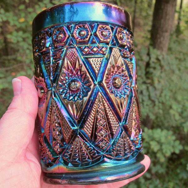 Antique Imperial Diamond Lace Amethyst Purple Carnival Glass Tumbler
