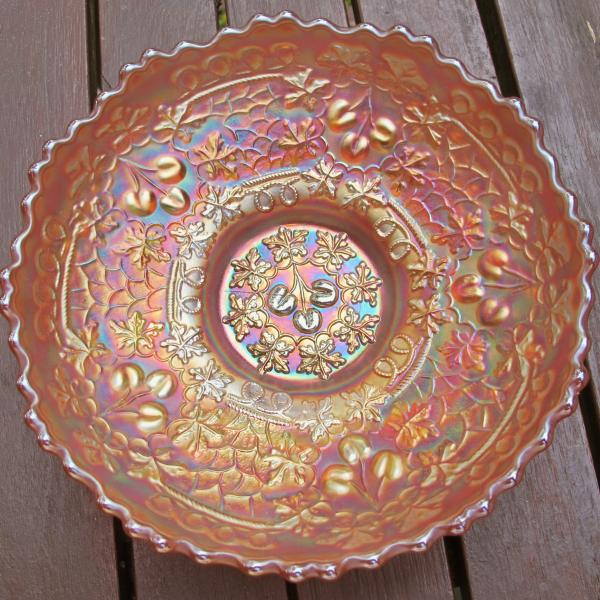 Antique Fenton Cherry Chain Marigold Carnival Glass Sauce Berry Bowl