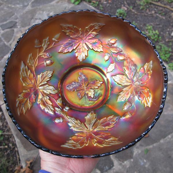 Antique Fenton Autumn Acorns Electric Amethyst Carnival Glass ICS Bowl