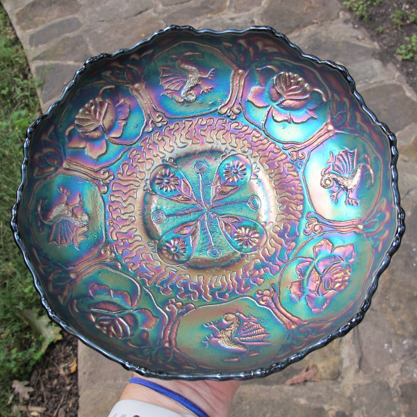 Antique Fenton Blue Dragon & Lotus Carnival Glass Round Bowl