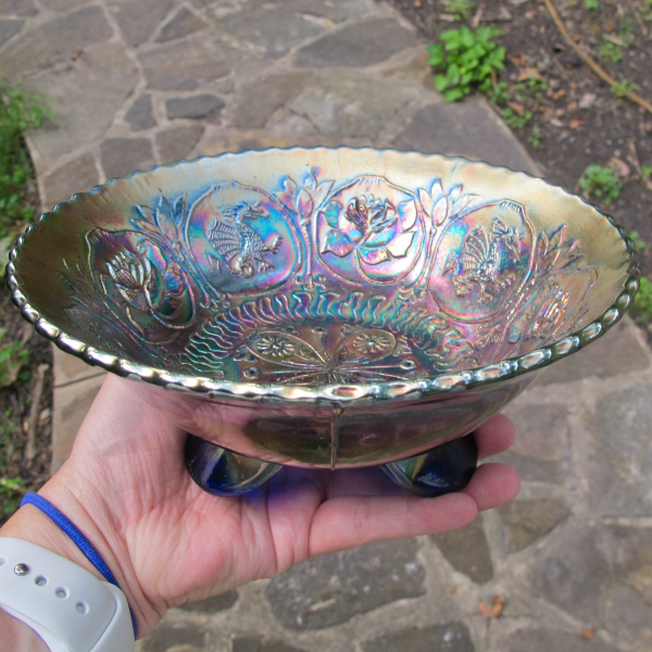 Antique Fenton Dragon & Lotus Blue Carnival Glass Flared Nut Bowl - Spat Ftd.