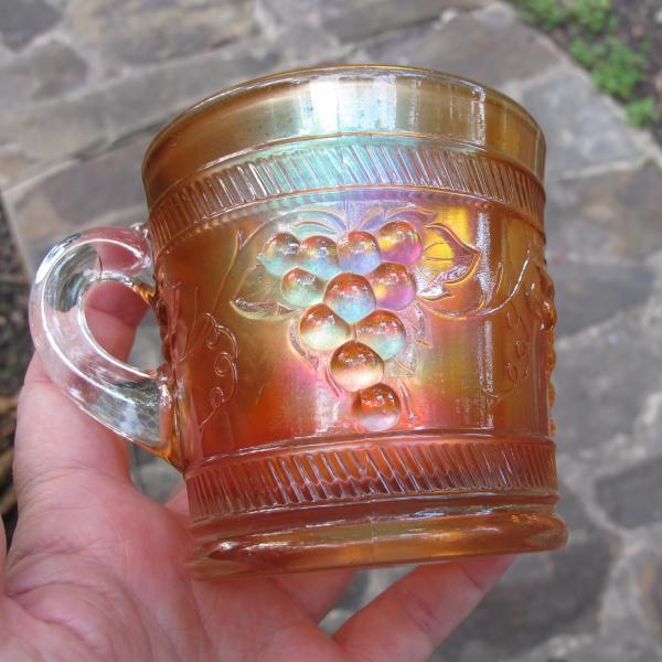 Antique Dugan Vintage Banded Marigold Carnival Glass Mug